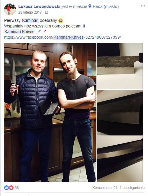 Łukasz Lewandowski i Kaminari na Facebook